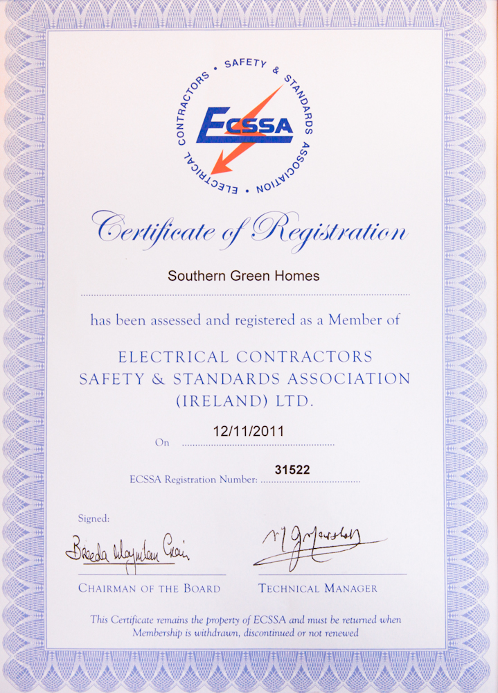 Safe Electric ECSSA Certificate - Southern Green Homes