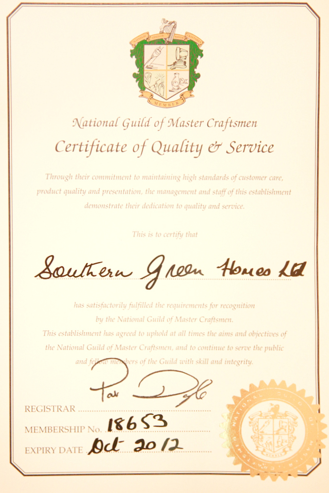 National Guild of Mastercraftsmen Certificate - Southern Green Homes
