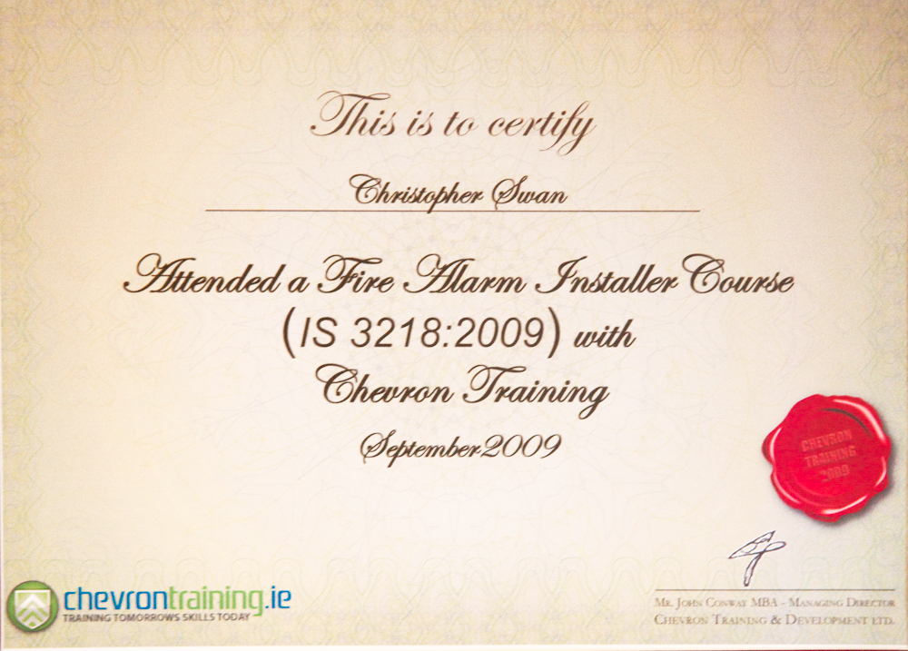 Fire Alarm Installation Certificate - Southern Green Homes