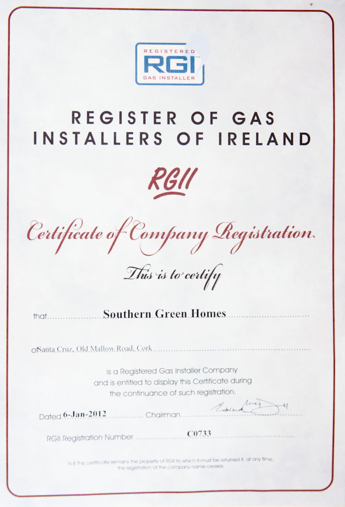 RGI - Southern Green Homes - Registered Gas Installers Certificate Ireland