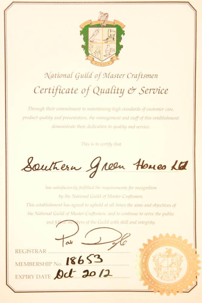 National Guild of Mastercraftsmen Certificate - Southern Green Homes